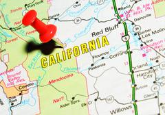 California marked with red pushpin on the map Stock Photos