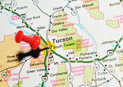 Tucson, Arizona marked with red pushpin on map - stock photo
