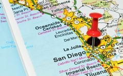 San Diego marked with red pushpin on the map Stock Photos