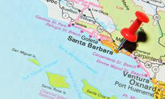 Santa Barbara marked with red pushpin on the map - stock photo