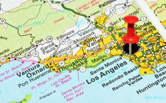 Los Angeles, California marked with red pushpin on the map - stock photo