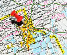 Providence marked with red pushpin on the map Stock Photos