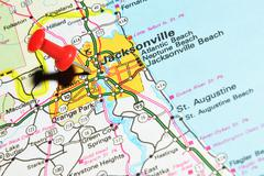 Jacksonville, Florida marked with red pushpin on the map - stock photo