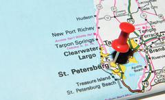 St. Petersburg, Florida marked with red pushpin on the map Stock Photos