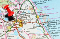 Orlando, Florida marked with red pushpin on the map - stock photo
