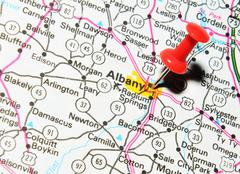 Albany marked with red pushpin on the map Stock Photos
