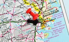 Savannah marked with red pushpin on the map Stock Photos