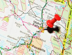Idaho Falls marked with red pushpin on the map - stock photo