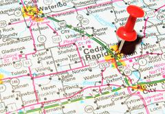 Cedar Rapids marked with red pushpin on the map - stock photo