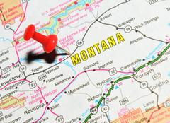 Stock Photo of Montana marked with red pushpin on the map
