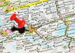 Baton Rouge marked with red pushpin on the map - stock photo