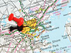 Baltimore marked with red pushpin on the map - stock photo