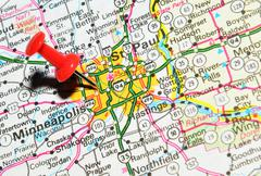 St. Paul, Minnesota marked with red pushpin on the map Stock Photos