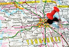 Nashville, Tennessee marked with red pushpin on the map - stock photo