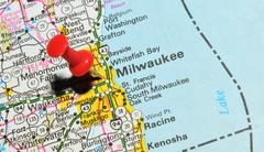 Milwaukee marked with red pushpin on the map Stock Photos