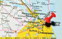 Portsmouth marked with red pushpin on the map Stock Photos