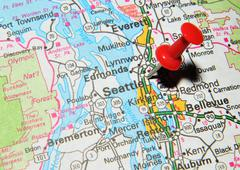 Seattle marked with red pushpin on the map - stock photo