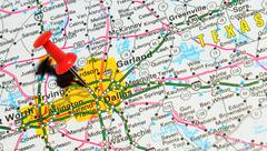 Dallas, Texas marked with red pushpin on the map Stock Photos