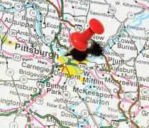Pittsburgh, Pennsylvania marked with red pushpin on the map - stock photo