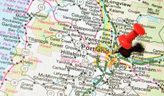 Portland, Oregon marked with red pushpin on the map - stock photo