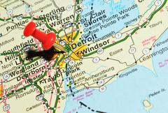Detroit marked with red pushpin on the map - stock photo