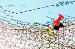 Cleveland marked with red pushpin on the map Stock Photos