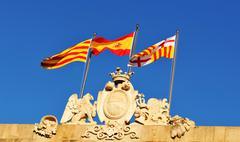 Spanish and Catalan flags Stock Photos