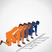 Start the race of businessmen vector Stock Illustration