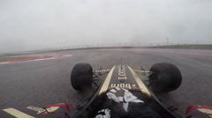 Formula car on track, helmet cam, POV Stock Footage