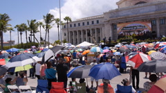 Pan view - Massive Christian Rally gathering in front of Capitol Building 2 of 6 Stock Footage