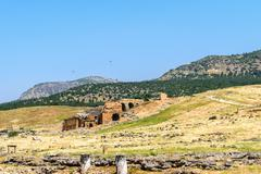 The ancient Greek and Roman city of Hierapolis (Taurus mountains, Pamukkale i - stock photo
