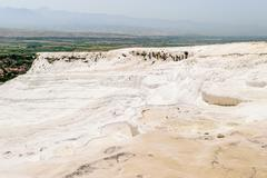 Pamukkale - Cotton Castle - bizarre system of reservoirs with limestone walls - stock photo