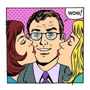 Love male female success joy kiss Stock Illustration