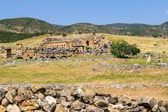The ancient Greek and Roman city of Hierapolis (Taurus mountains, Pamukkale i - stock photo