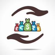 Save or secure money concept icon Stock Illustration