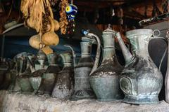 Vintage metal utensils. Yoruk Park. Kemer. Turkey - stock photo