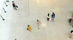People walking in the Shanghai Hongqiao International Airport Stock Footage