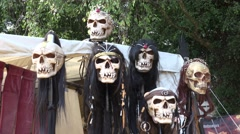 4k Deco skulls at medieval pageant event Stock Footage