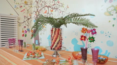 Banquet for children's birthday party Stock Footage