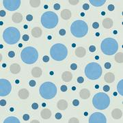 Blue and Beige Polka Dot Tile Pattern Repeat Background Stock Illustration