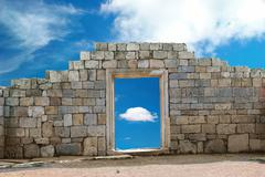 Wall with entrance Stock Photos