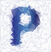 Frozen letter P low poly design - stock illustration