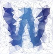 Frozen letter W low poly design - stock illustration