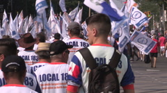 Stock Video Footage of Toronto labor day parade as thousands of workers protest for labour unions
