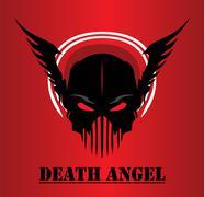 death angel. winged black mask - stock illustration