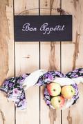 Ripe seasonal apples on the wooden backround Stock Photos