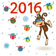 Monkey holds for the digit of 2016 inscription and hangs on it Stock Illustration
