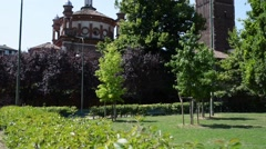 Basilica of Sant Eustorgio is a church in Milan Stock Footage