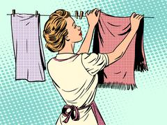 woman hangs clothes after washing housewife housework comfort - stock illustration