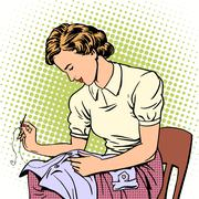 woman sews shirt thread housewife housework comfort - stock illustration